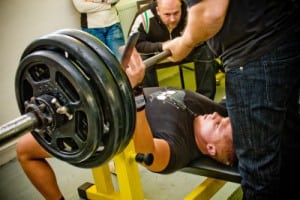 pictute of man participates in Amateur bench press championship in Professors GYM January 29, 2011 in Pecs, Hungary.