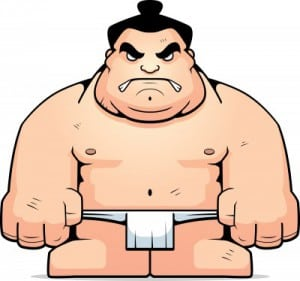 A big cartoon sumo wrestler with an angry expression